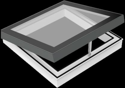 Zu öffnendes Design-Oberlicht (Skylight) für flache Dächer