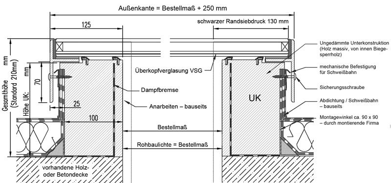 Technische Zeichnung CIRCULAR-WALK-ON 2-fach verglast