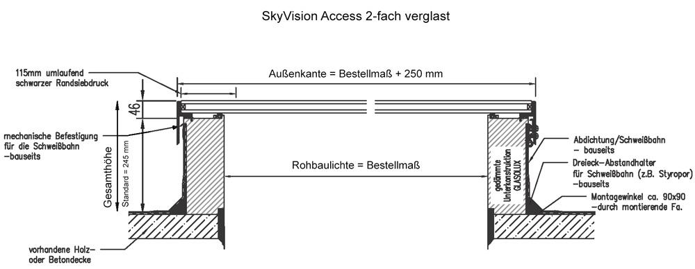 Technische Zeichnung SkyVision ACCESS - das zu öffnende Fenster für den Rauchabzug