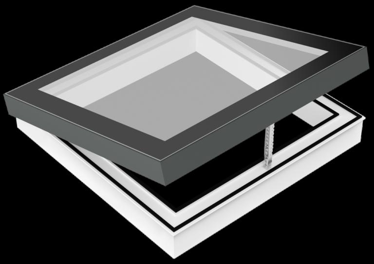 SkyVision COMFORT ist ein zu öffnendes Design-Oberlicht (Skylight) für flache Dächer. (Grafik)